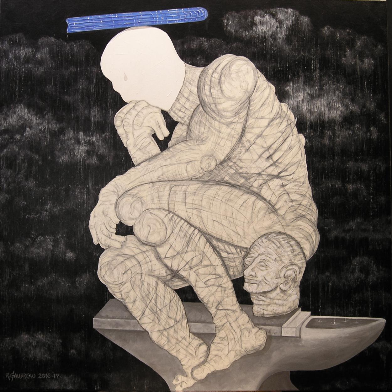 "Model Thinkers - ""Heavy Mind"" (Still) 2016-17  36""h x 36""w  oil, graphite on linen"