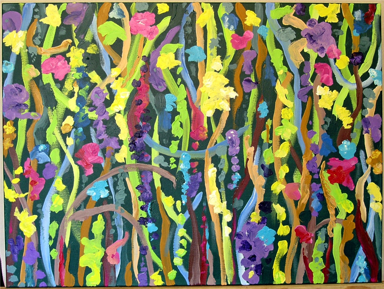 "7 Times to Flourish Number 3 - 2014 30""h x 40""w acrylic on canvas"