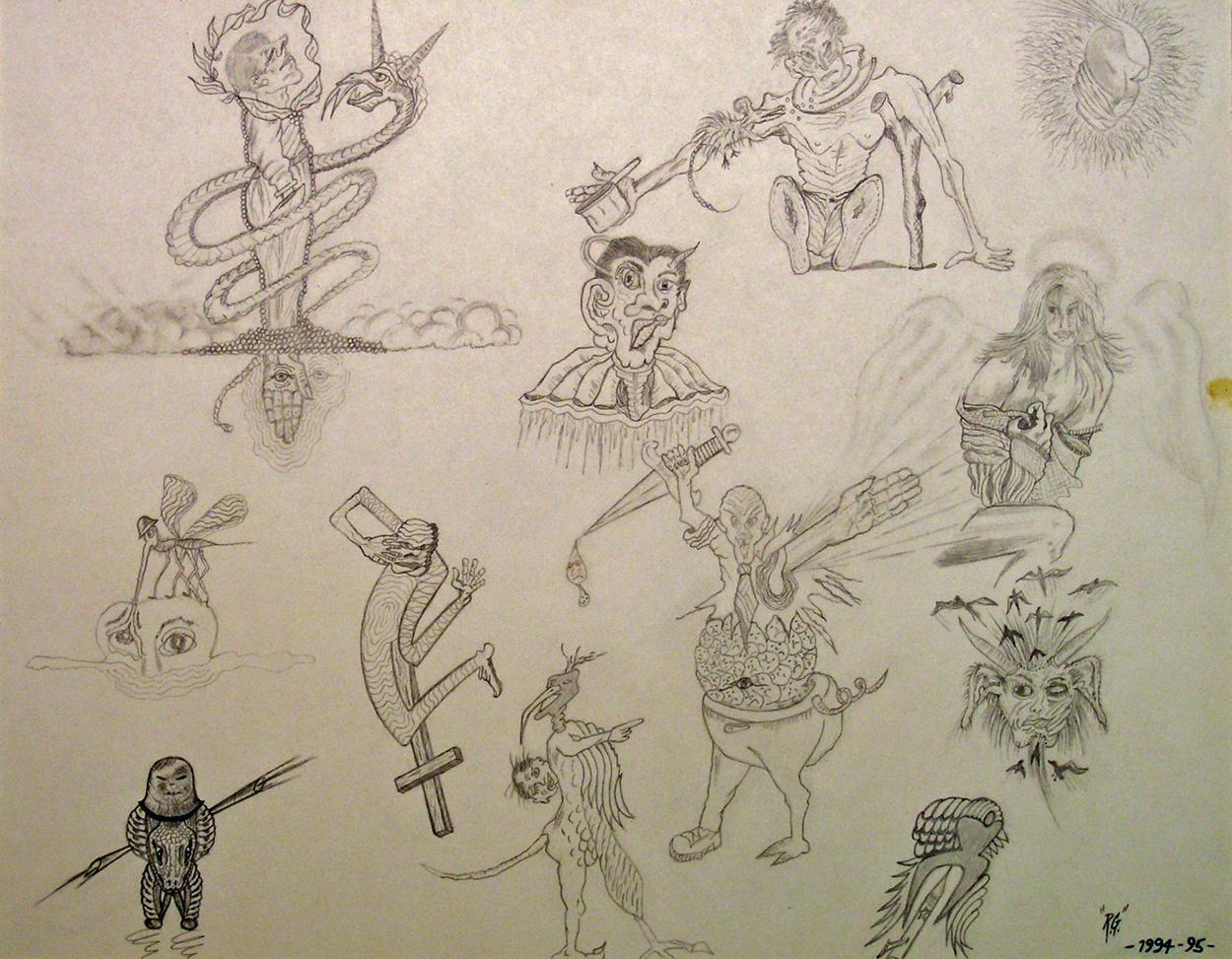 "Angels, Demons, Aliens, Victims Part 1 - 1994-95  pencil, graphite on Bristol board  12""H x 16""W"