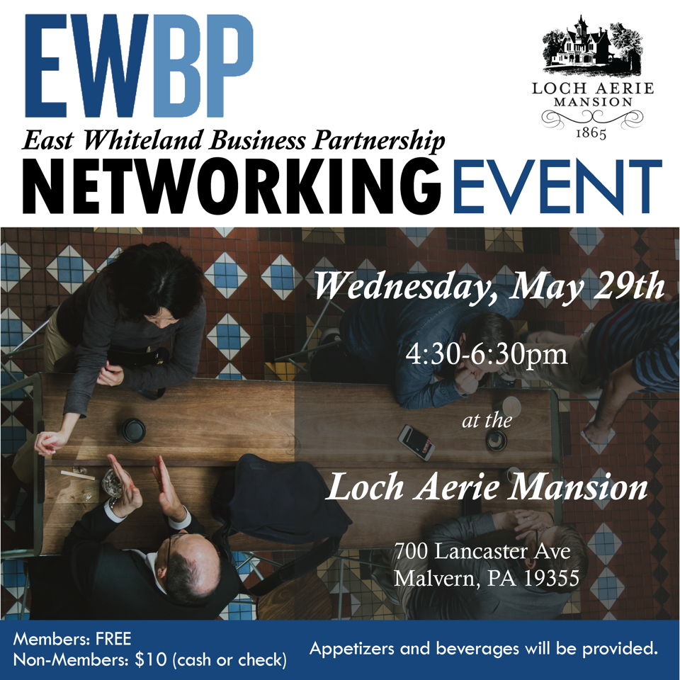 - Join the EWBP on May 29th at the Loch Aerie Mansion!Apps and drinks provided.Members: FREENon-members: $10