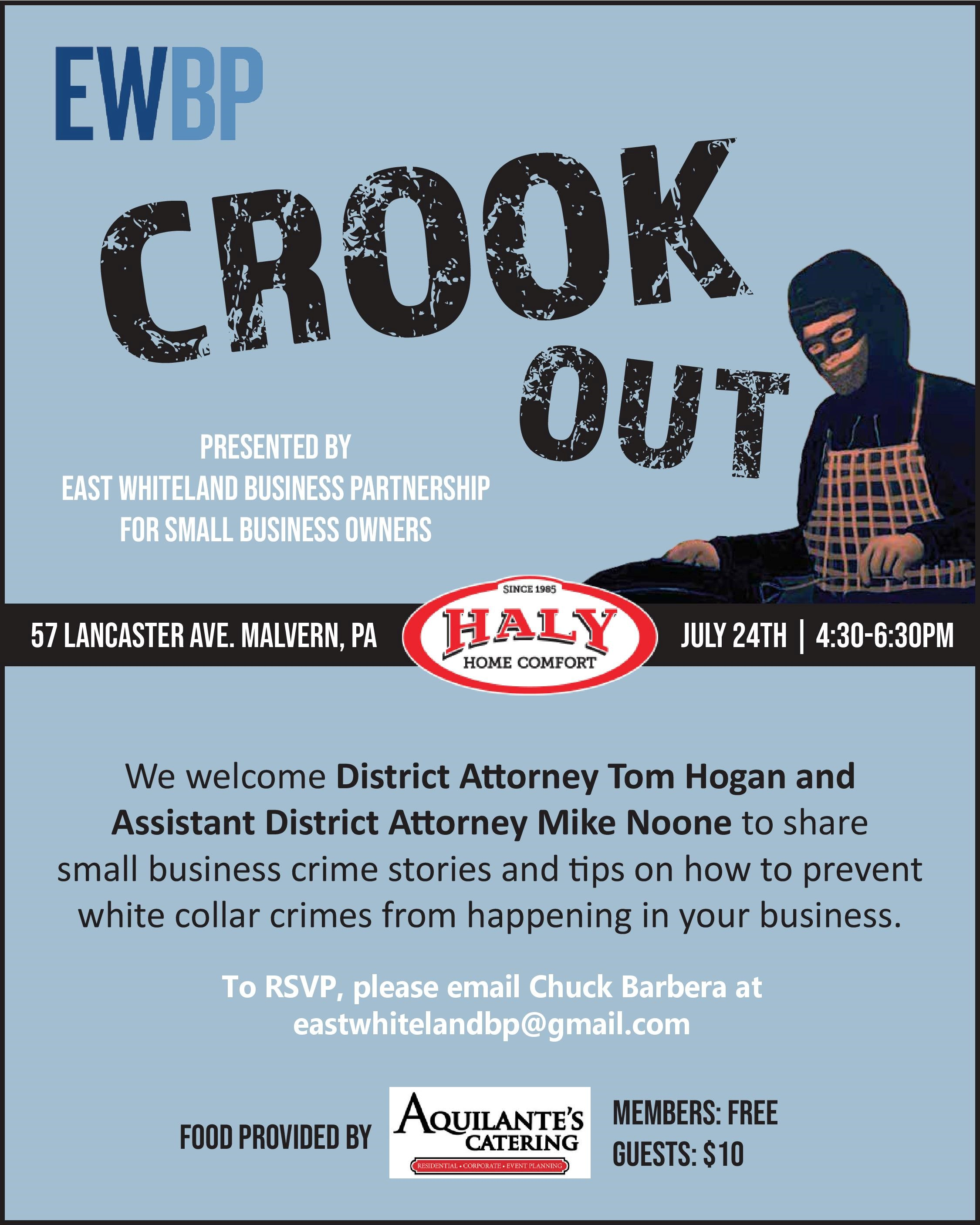 - Join us in July at Haly Oil/Great Valley Propane to hear from District Attorney Tom Hogan and Assistant District Attorney Mike Noone!