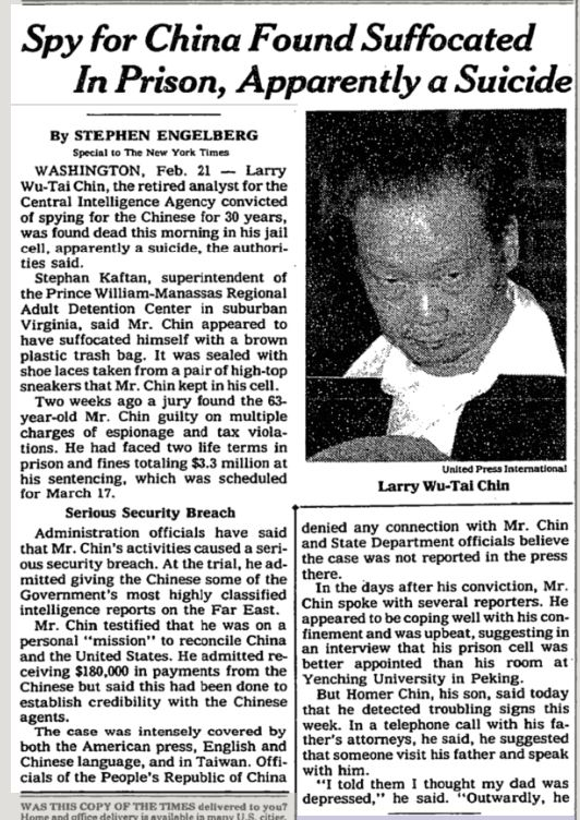 As  the New York Times wrote  on day of Chin's death: