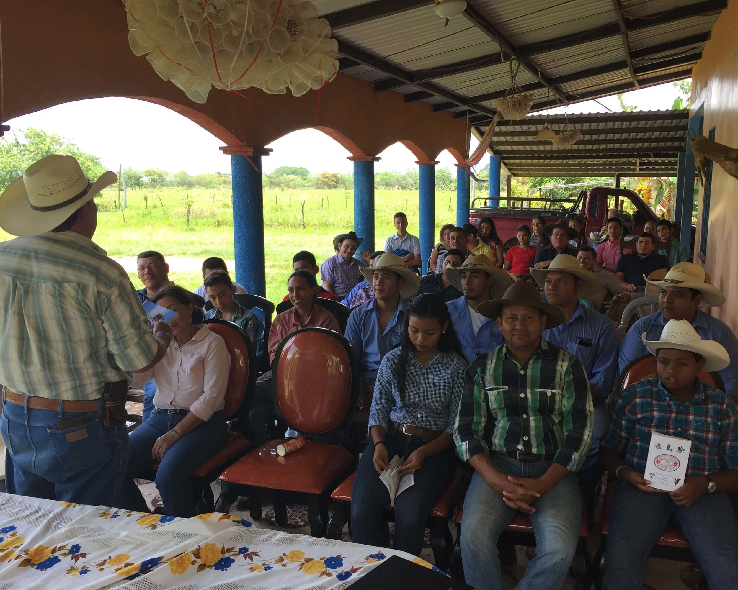 Cesar Gonzalez speaking to the gathering at Jose Matute's ranch