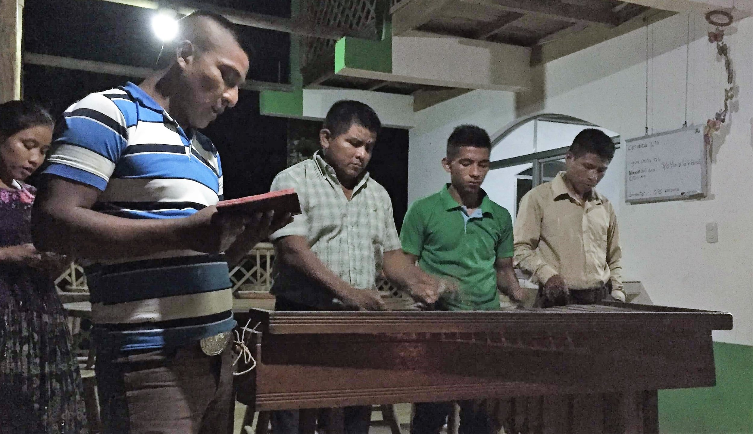 The Kekchi team played the marimba on our first stop near El Estor, Guatemala.
