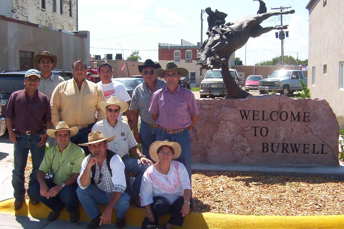 Cesar took this picture of the Guatemala team that visited Burwell, Nebraska in the summer of 2006. Note that Oscar is seated on the curb in the middle. His cousin Alex is in the green shirt next to him. Elba, Cesar's wife, is seated on the right. Rolando is second from the top right.