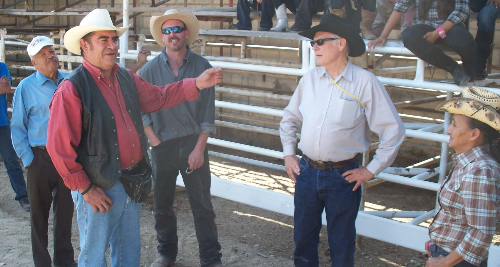 In 2011, Cesar makes a point about horse trainer Gary Snider's story on a fun day with cowboys near Chapas Guatemala. Paul Embick of Long Pine, Nebraska looks on.