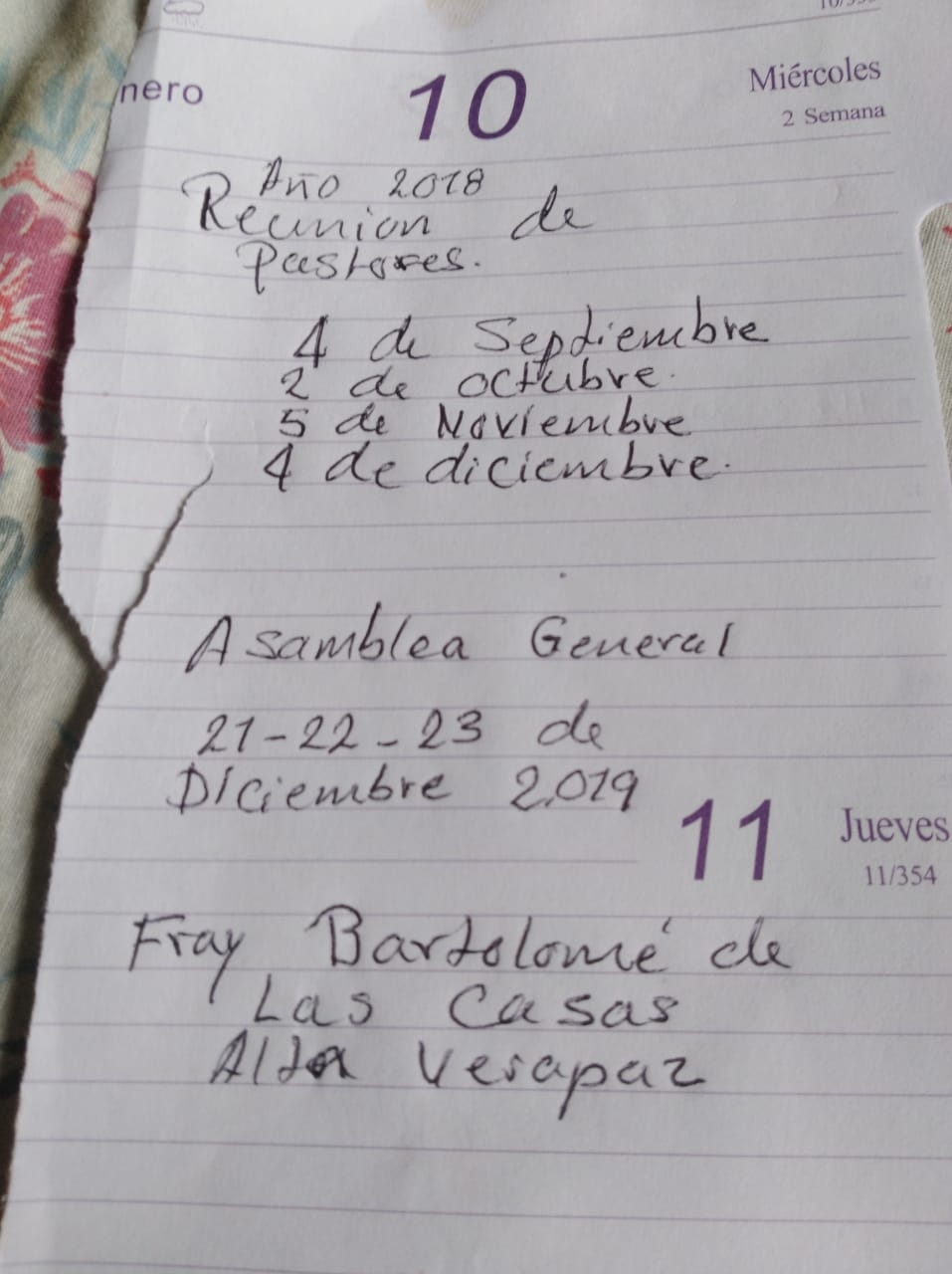 Cesar's note on some spare calendar pages inaugurated the new Kekchi association of churches and their gathering dates for pastors and leaders.
