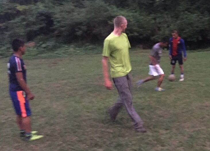 Aden jumps in to play before it gets dark and the church service will begin. Soccer has been the primary evangelism tool used by our Kekchi churches to reach new villages with the gospel.