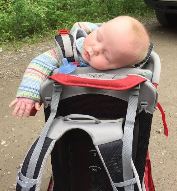 While on our family vacation in Banff, Zeke took a snooze in his daddy's backpack carrier.