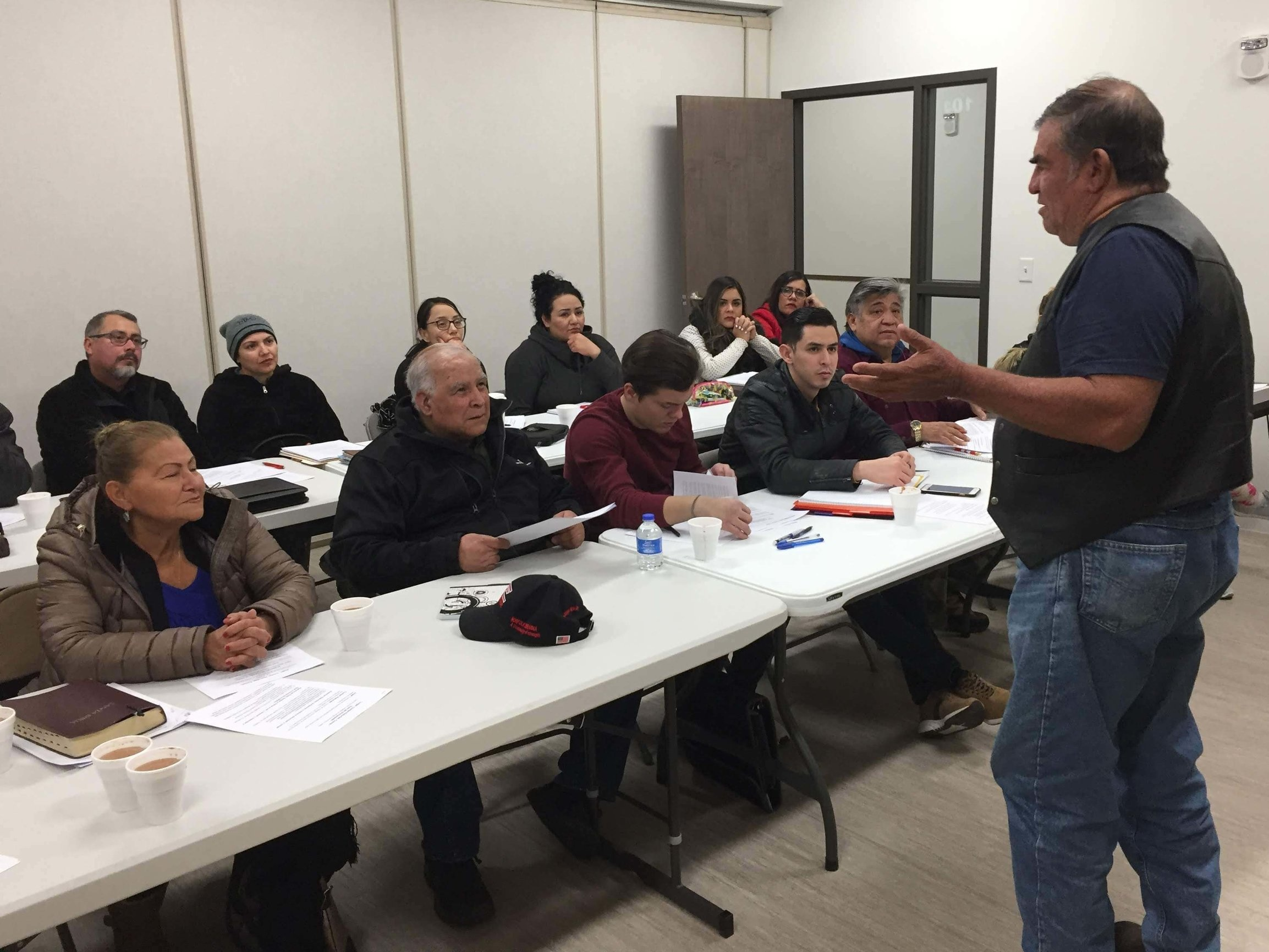 Cesar spoke to David Martinez' Bible Institute group in Norfolk, Nebraska, about the Play. Story. Eat. process.