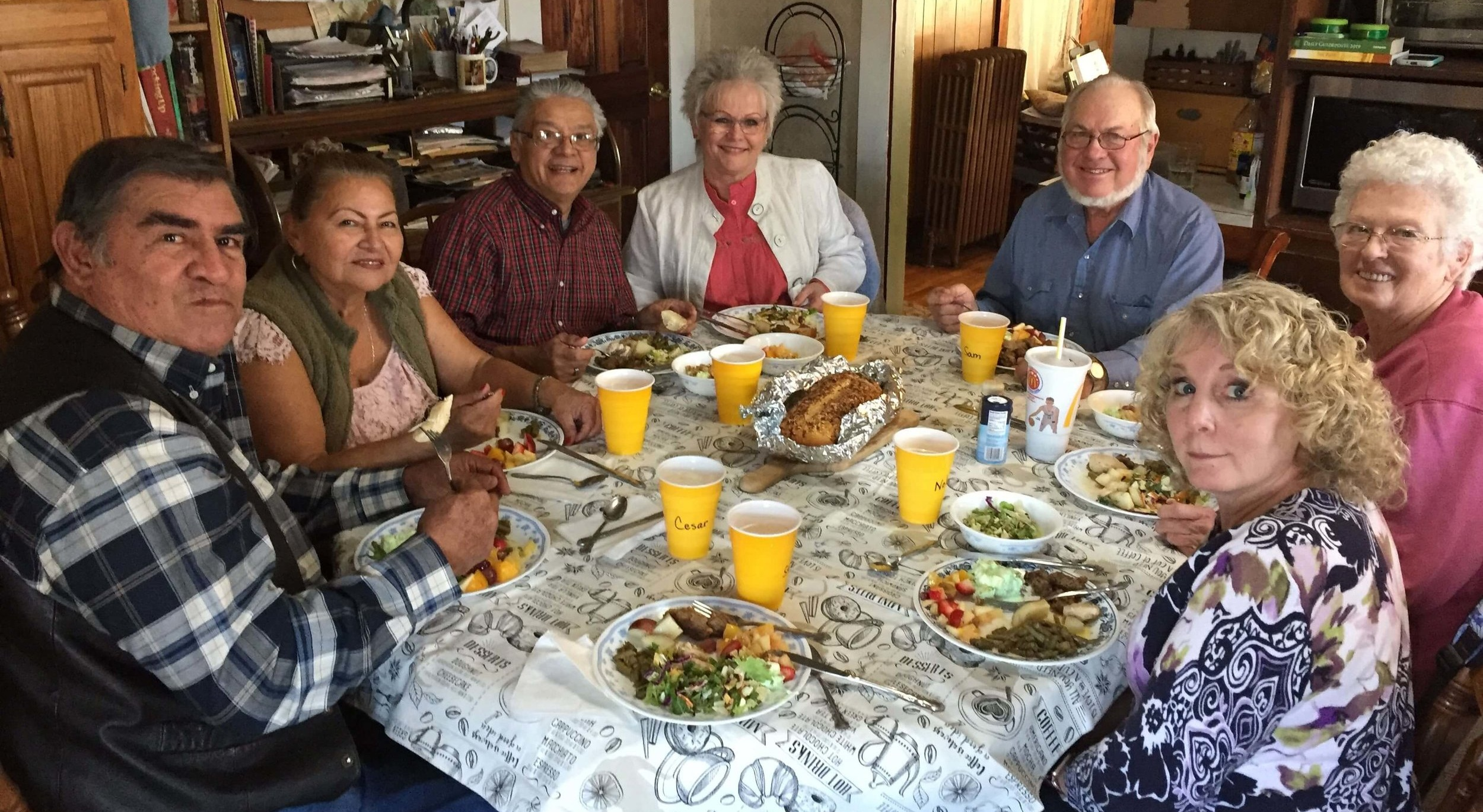 At a meal at Sam and Judy Anderson's in Sibley, Missouri, we enjoyed some tasty deer steaks and all the fixin's! From left to right around the table are Cesar Gonzalez, Elba Gonzalez, Michael Macias, Carla Macias, Sam, Judy, and my wife Nola.