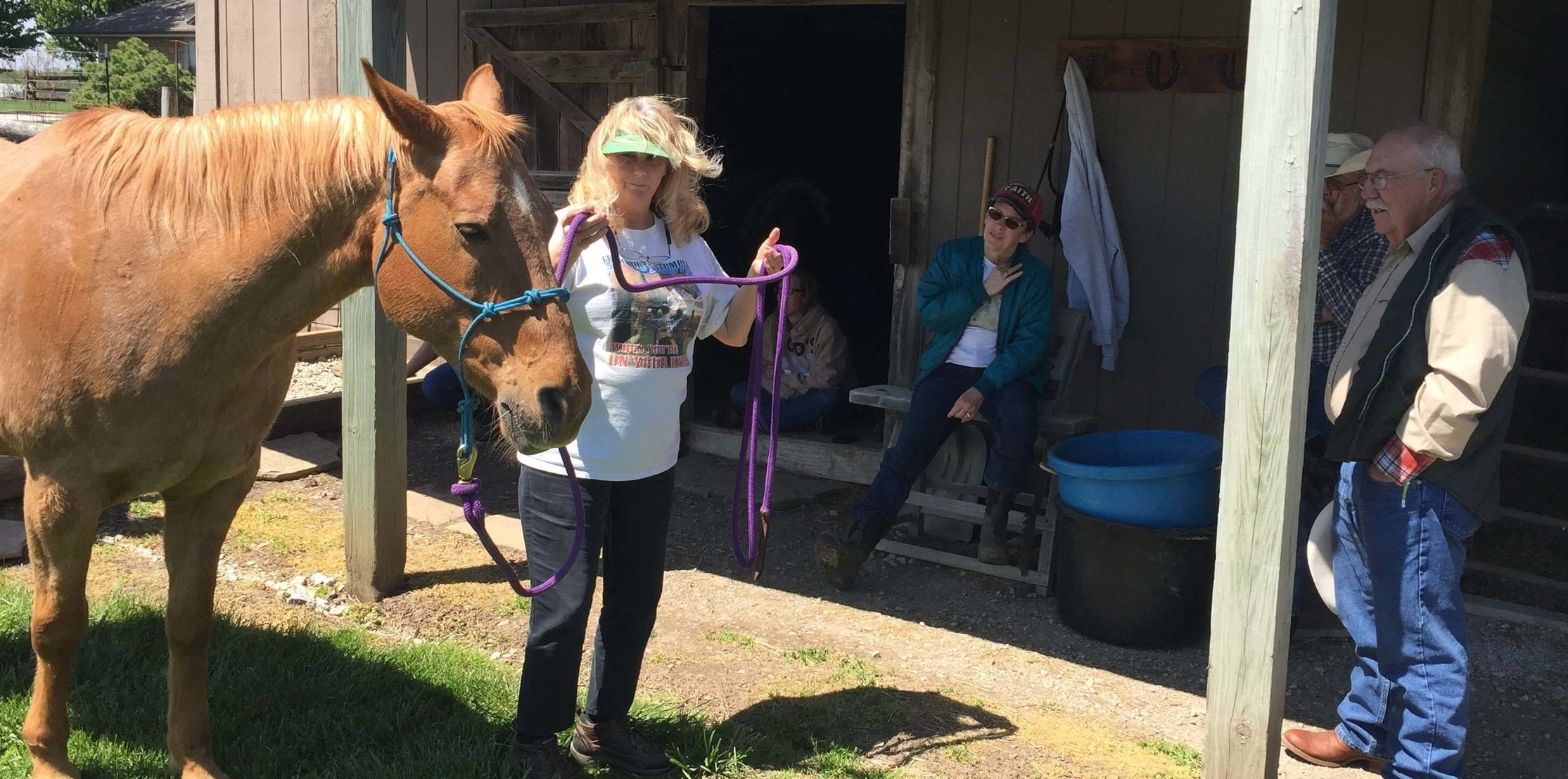 Barbara Harshner, a horse trainer from Lone Jack, Missouri, gives some pointers to our equine therapy team getting ready to go to Guatemala.