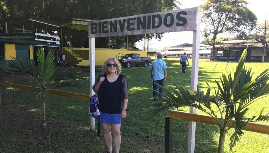 In La Ceiba, Honduras, last February, my wife Nola stands in front of an area that will be teeming with people during the days of their annual fair in May.
