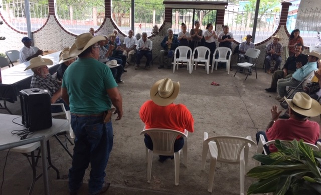 At a senior citizens program near Quesada, Guatemala, Cesar introduces our group.