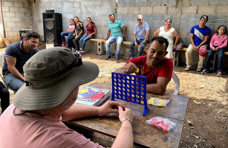 George played Connect Four with a new friend in Chiapas, Guatemala.