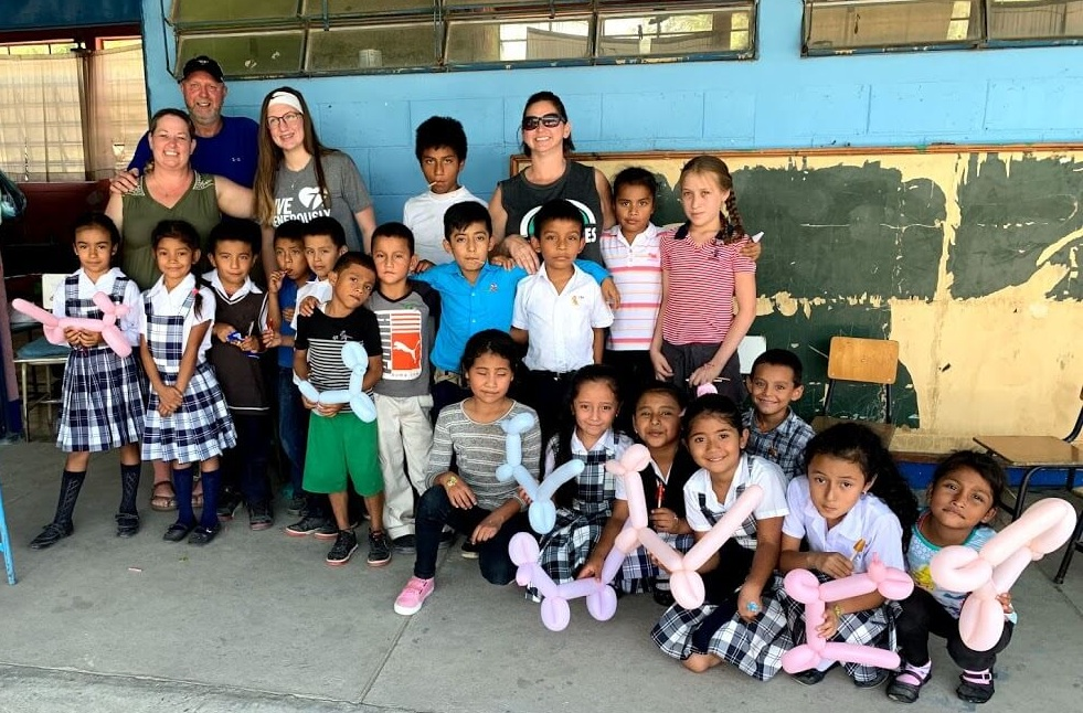 The last day, the group posed for a picture with a class of school children near Amberes, Guatemala.