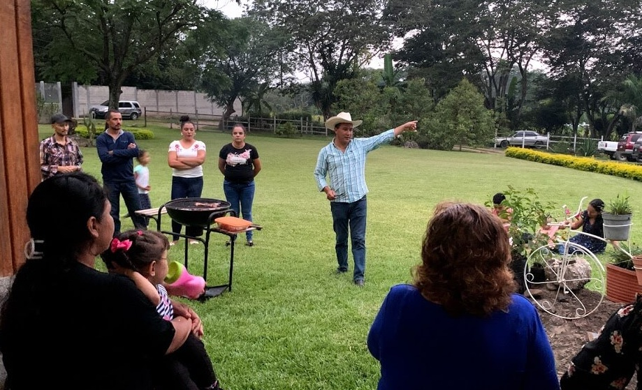 At the first meeting of a new Christian Rancher group in Chiapas, Guatemala, Valentin Solares, a local pastor, makes a point as he welcomes his friends to a Guatemalan style barbecue.