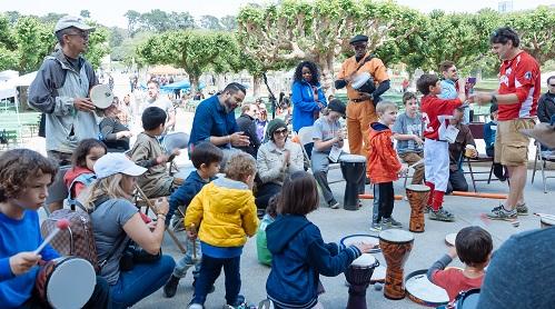 Drum circle at Golden Gate Park