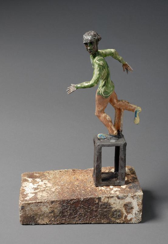 """Nameless Man 2, 2007, clay, glaze, epoxy, 12""""x9""""x4-1/2"""""""