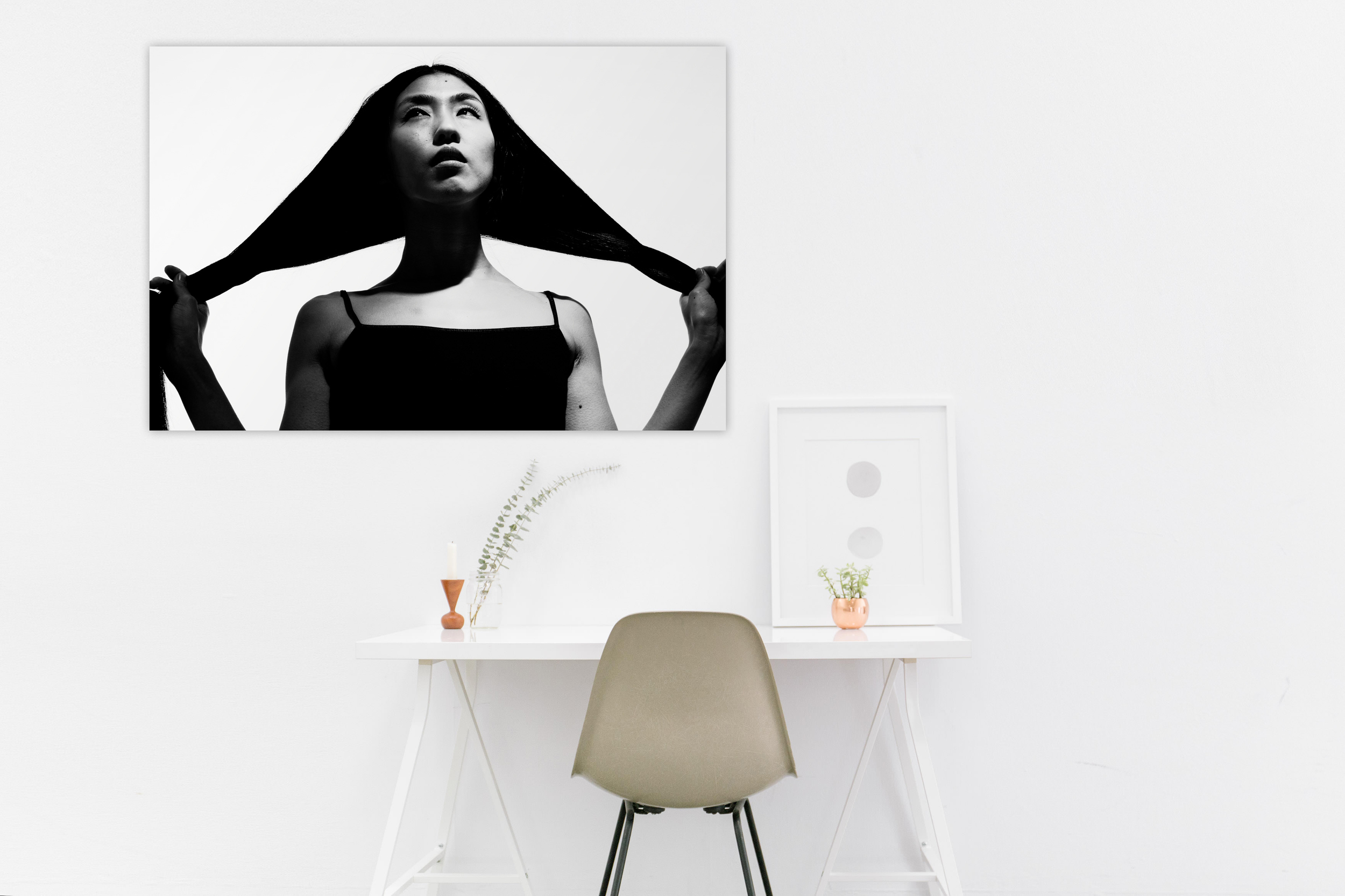 Hair Model in Black and White / 24x36 inches / open edition