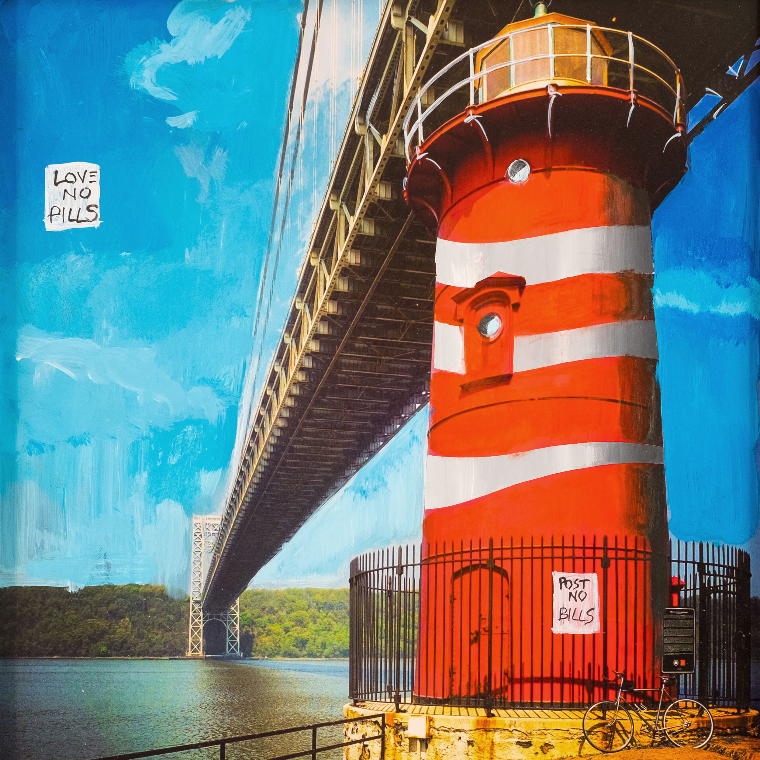 #33 LITTLE RED LIGHTHOUSE  (SOLD)  oil, acrylic and uv ink on fine art photo paper