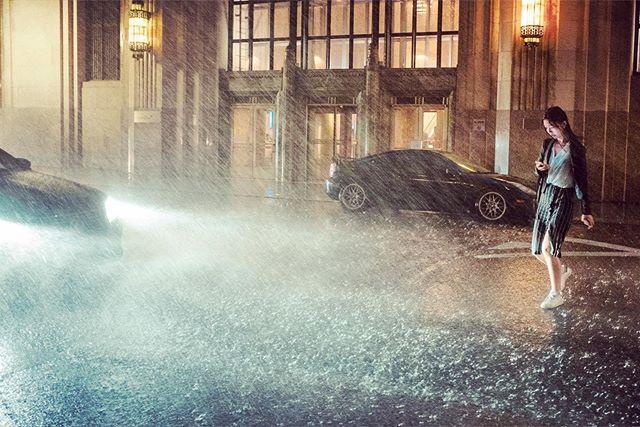 When it rains it pours #storm #summerstorm #summer #newyork #fujifilm #street #rain #lights