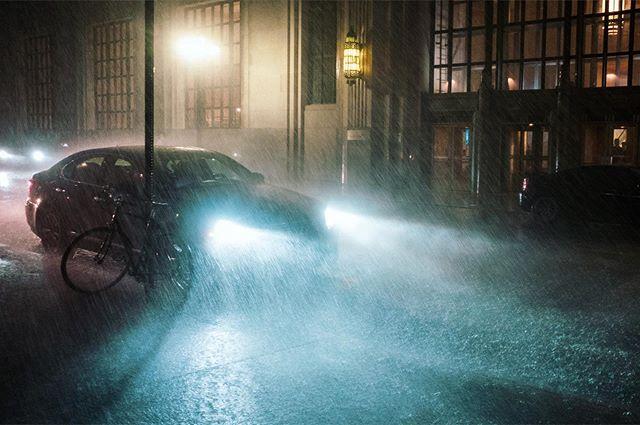 When it rains it pours #storm #summerstorm #summer #newyork #fujifilm #street #rain #car