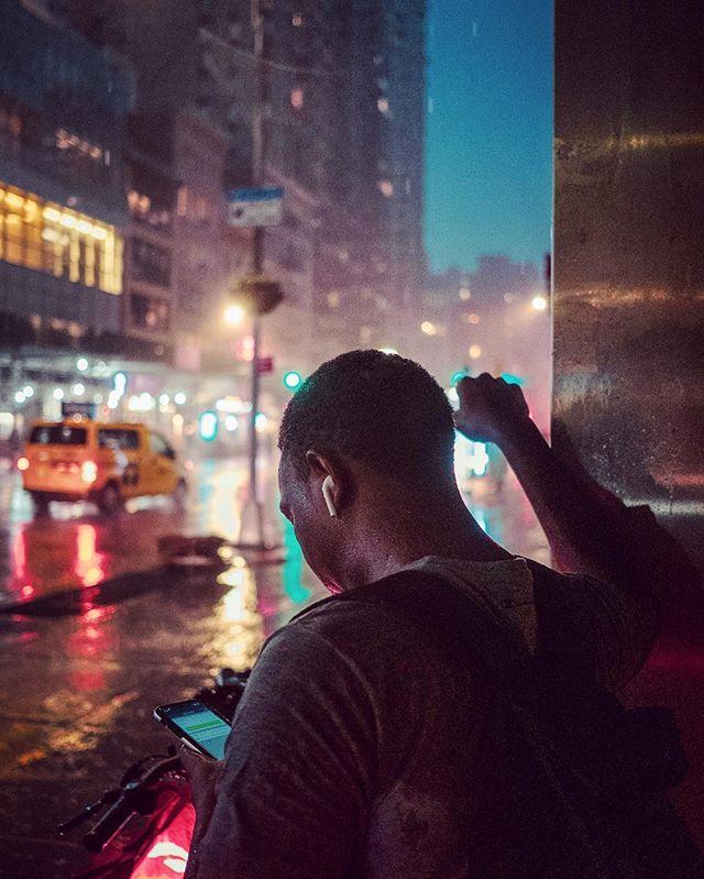 When it rains it pours #storm #summerstorm #summer #newyork #fujifilm #street #rain #delivery