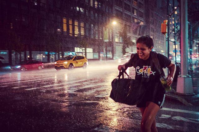 When it rains it pours #storm #summerstorm #summer #newyork #fujifilm #street #rain #running