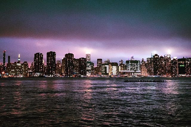 Never tired of this skyline #manhattanfrombrooklyn #storm #cloudsandlights #newyork #purple