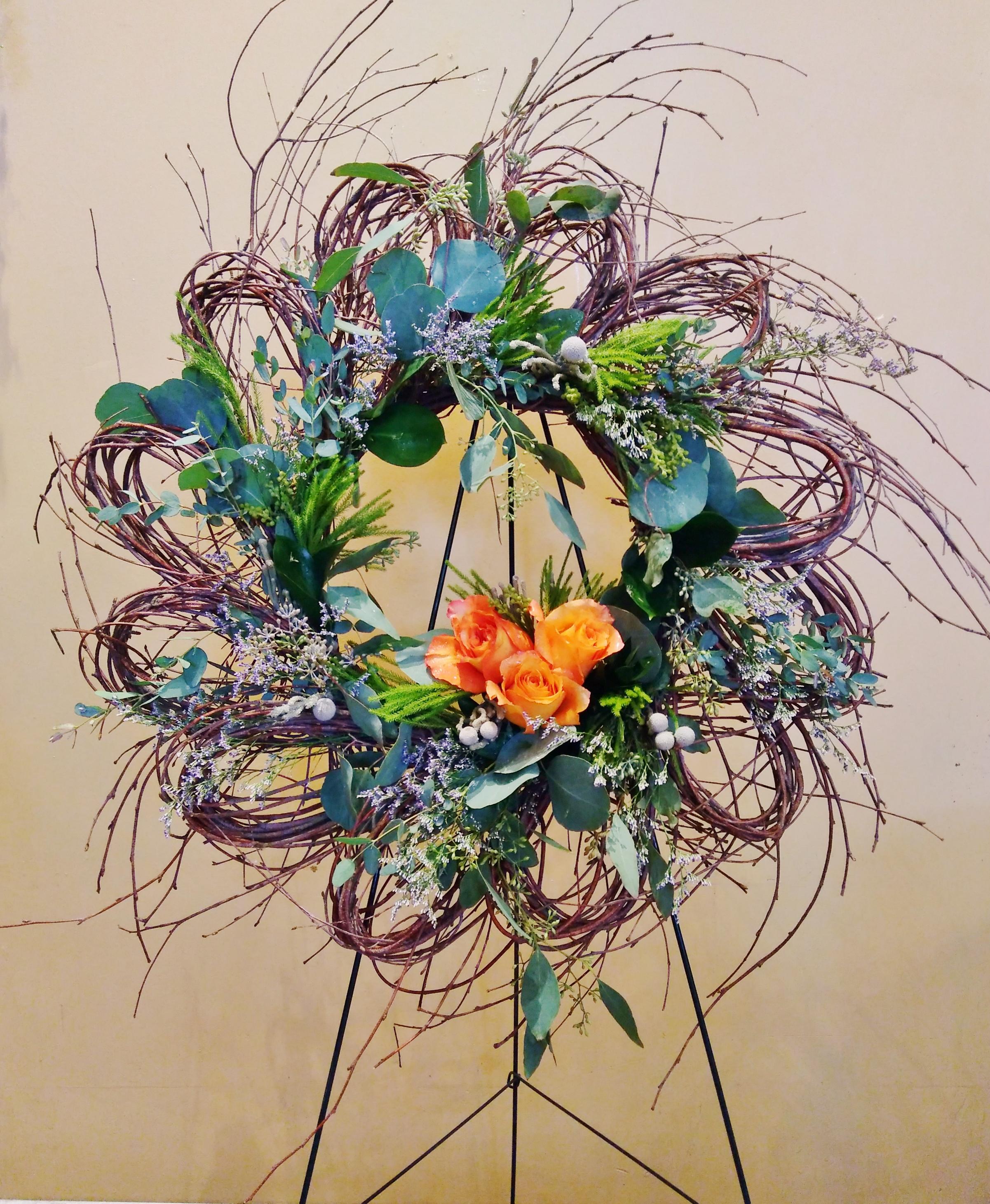 """F19 $125 24"""" Twig Wreath"""