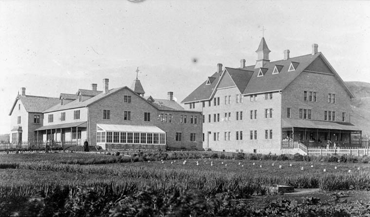 A02:   Fort Qu'Appelle Indian Residential School, exterior view, Lebret, date unknown
