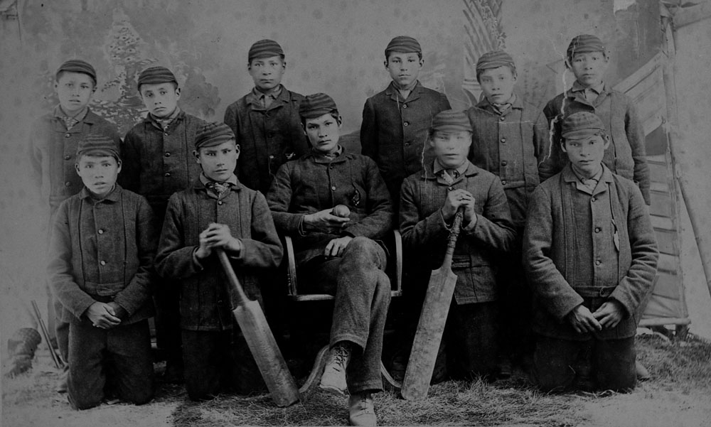 A04:   Battleford Indian Industrial School, the cricket team, ca. 1895