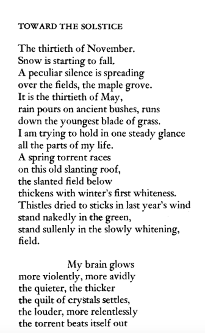 """An excerpt from """"Toward the Solstice,"""" by Adrienne Rich"""