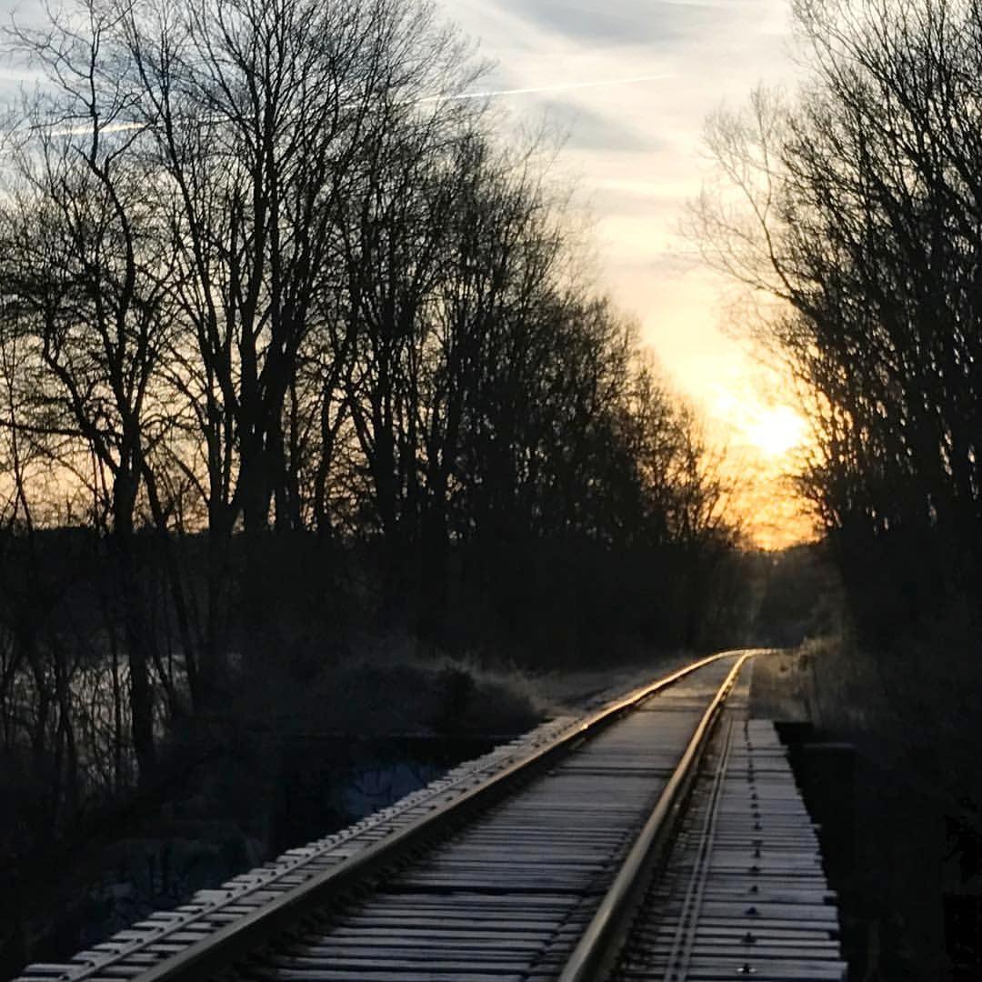 Winter sunrise,Railroad Trestle Bridge