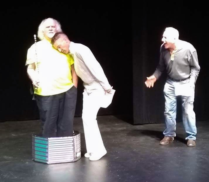 """From Left: Jack Dacey as LIGHTBULB, Eric Skoglund as MOTH, and Bob EIland as ROACH in """"Moth-erly Love,"""" Our Voices Festival 2018"""