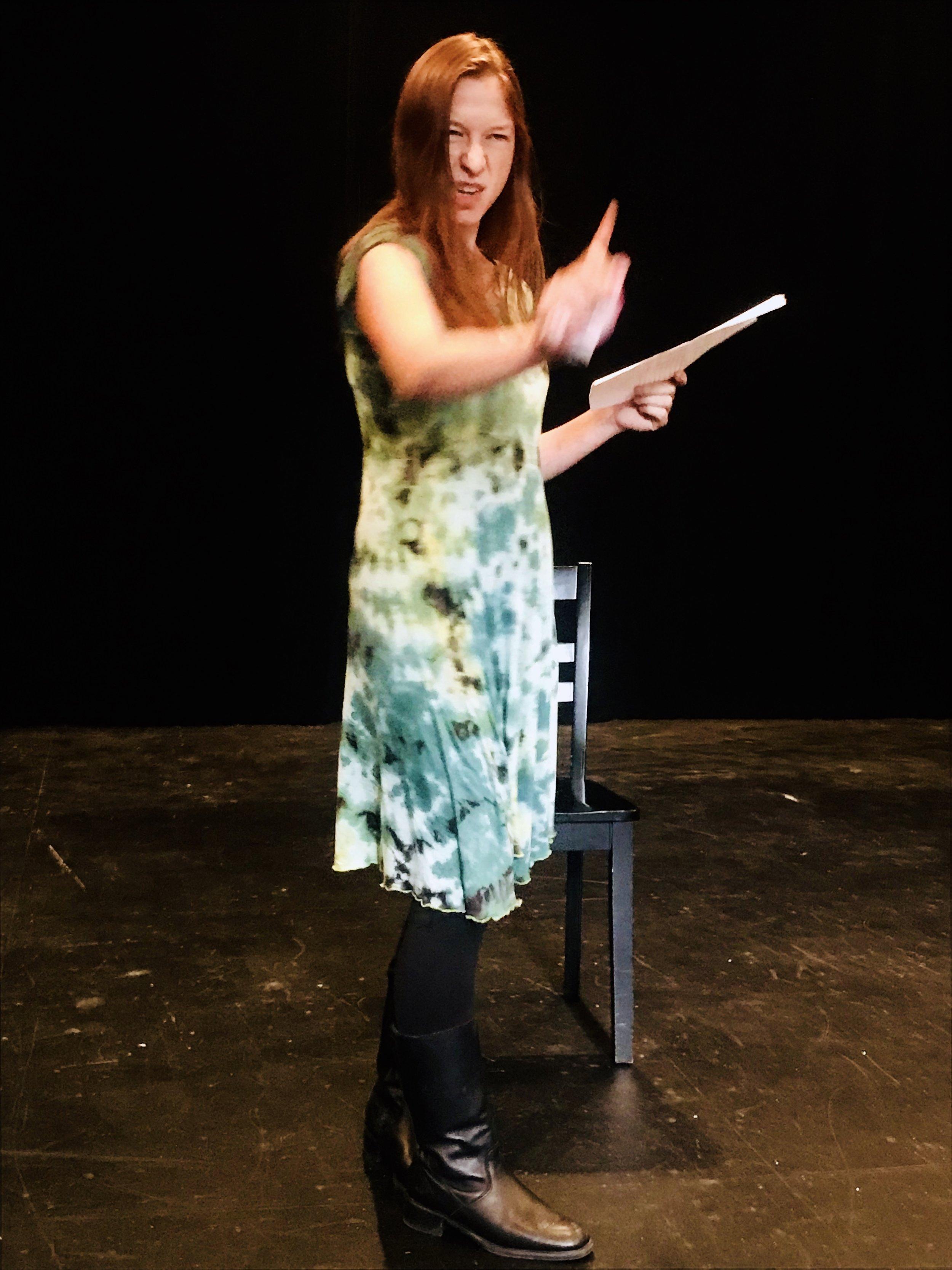 Amy Mevorach presenting her monologue