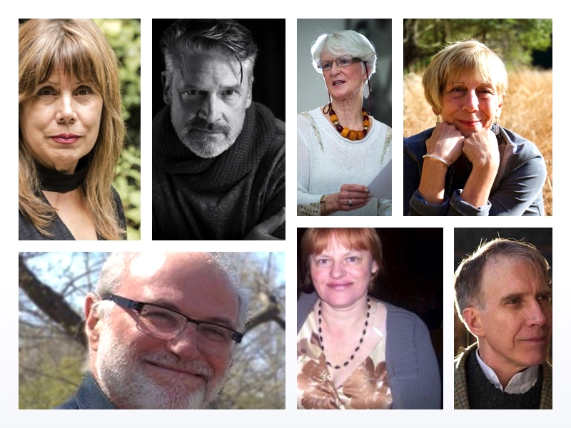 Monday night poets, led by Tom Daley: Top left: Jenny Grassl, Robert Carr, Cathy Morocco, me; Bottom Left: Paul Nemser, Eileen Cleary, and Tom Daley