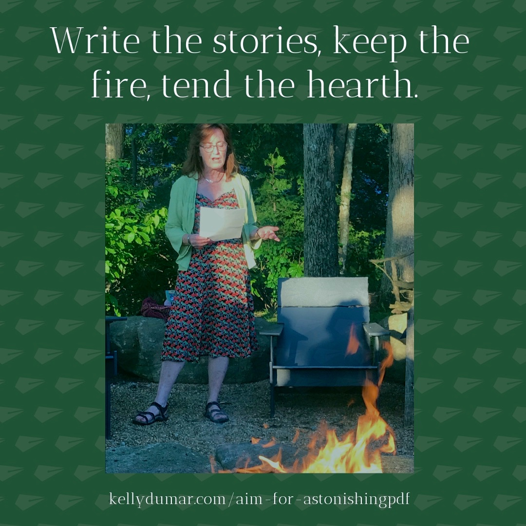"""Farm Pond Writer's Collective member Peggy Gavin reads her short creative non-fiction piece, """"A June Morning,"""" at our June 23, 2019 Open Readings at the story fire on Farm Pond"""