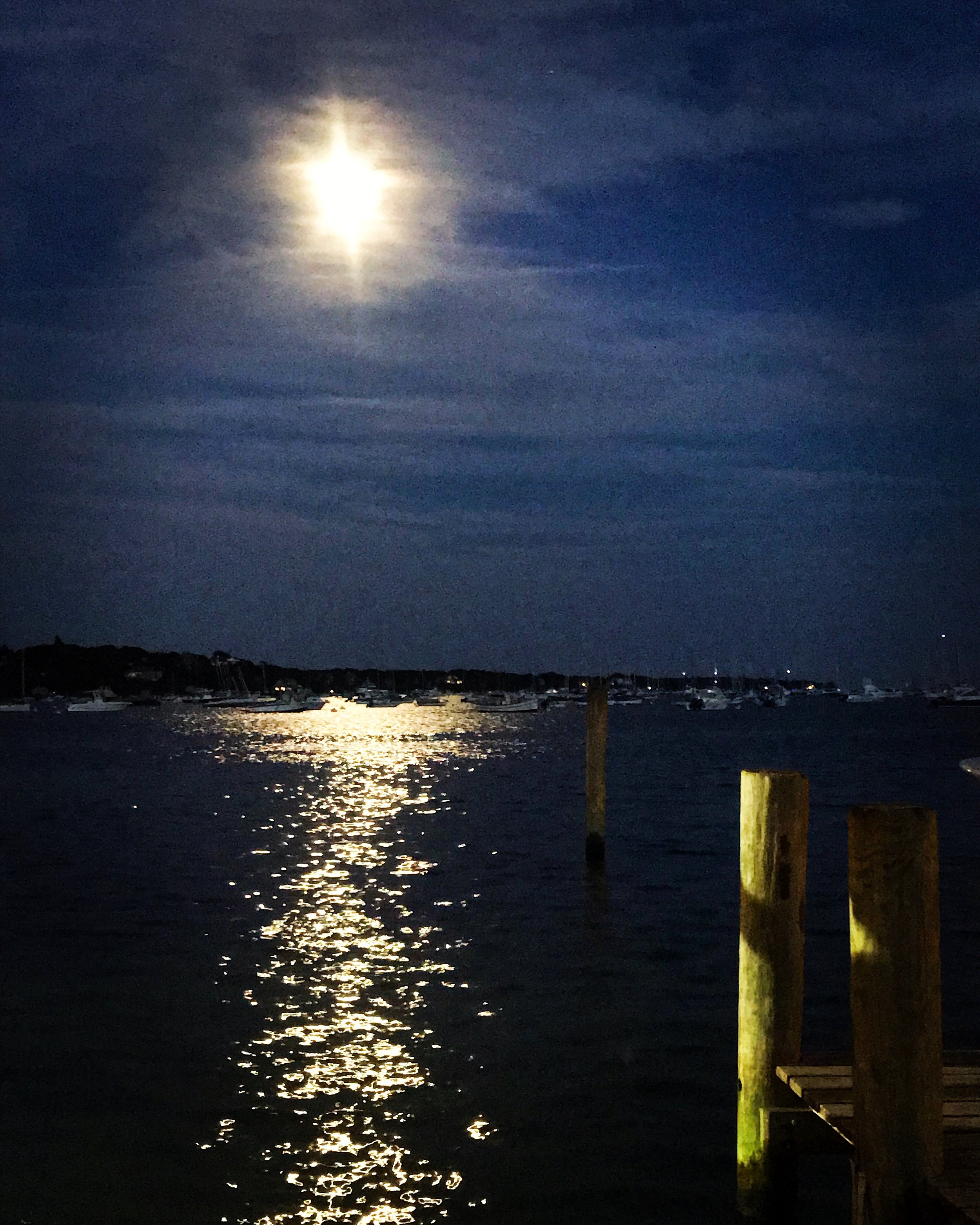 Edgartown Harbor lit by an almost full moon