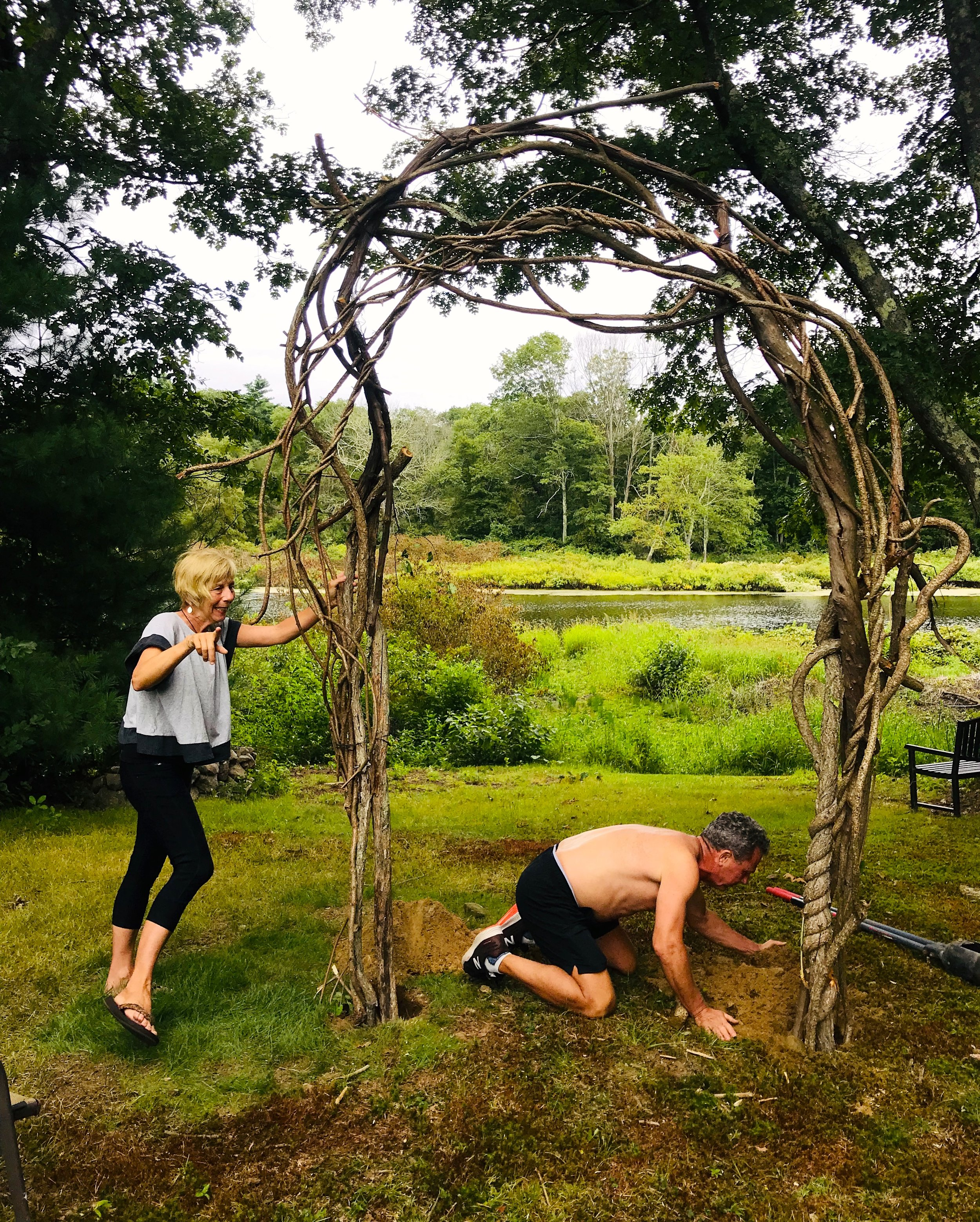 Building the wedding arch, Charles River afternoon