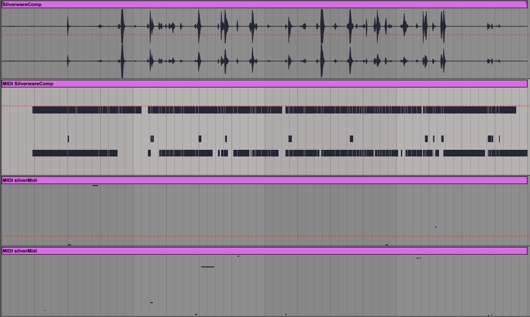 Top to bottom: Dish washing sounds/translated to drum midi/translated to melody midi/translated to harmony midi
