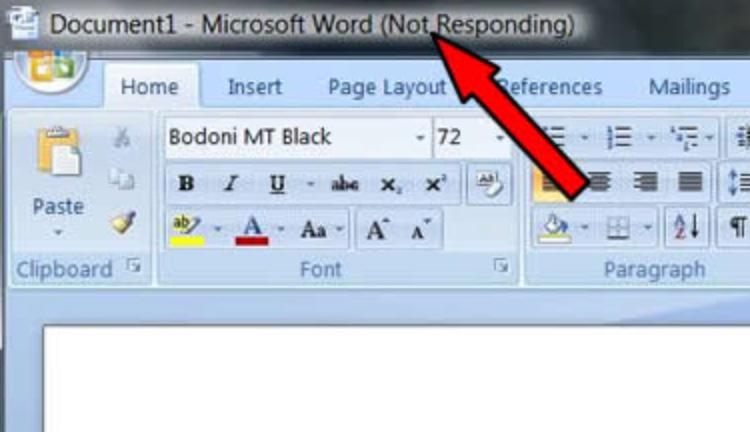 MS Word - Not Responding