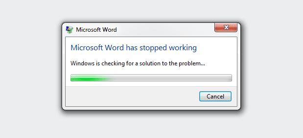Microsoft Word crash