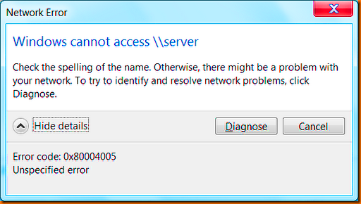 Cannot access error