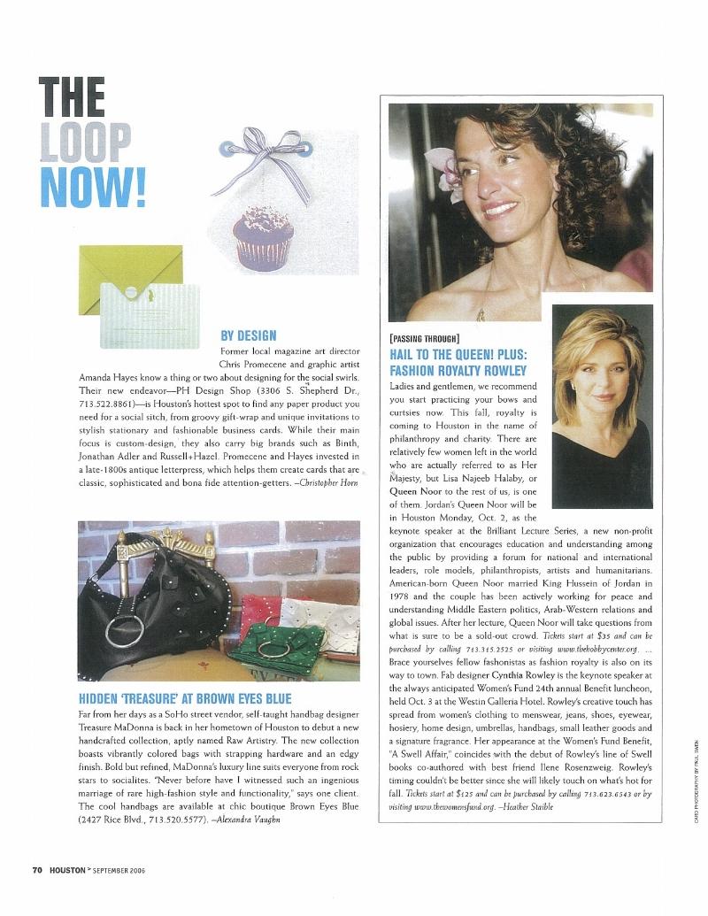 SIWEL Handbags by Designer Treasure Madonna Press Handbags Houston Modern Luxury Magazine loop-now-september-2006 press.jpg