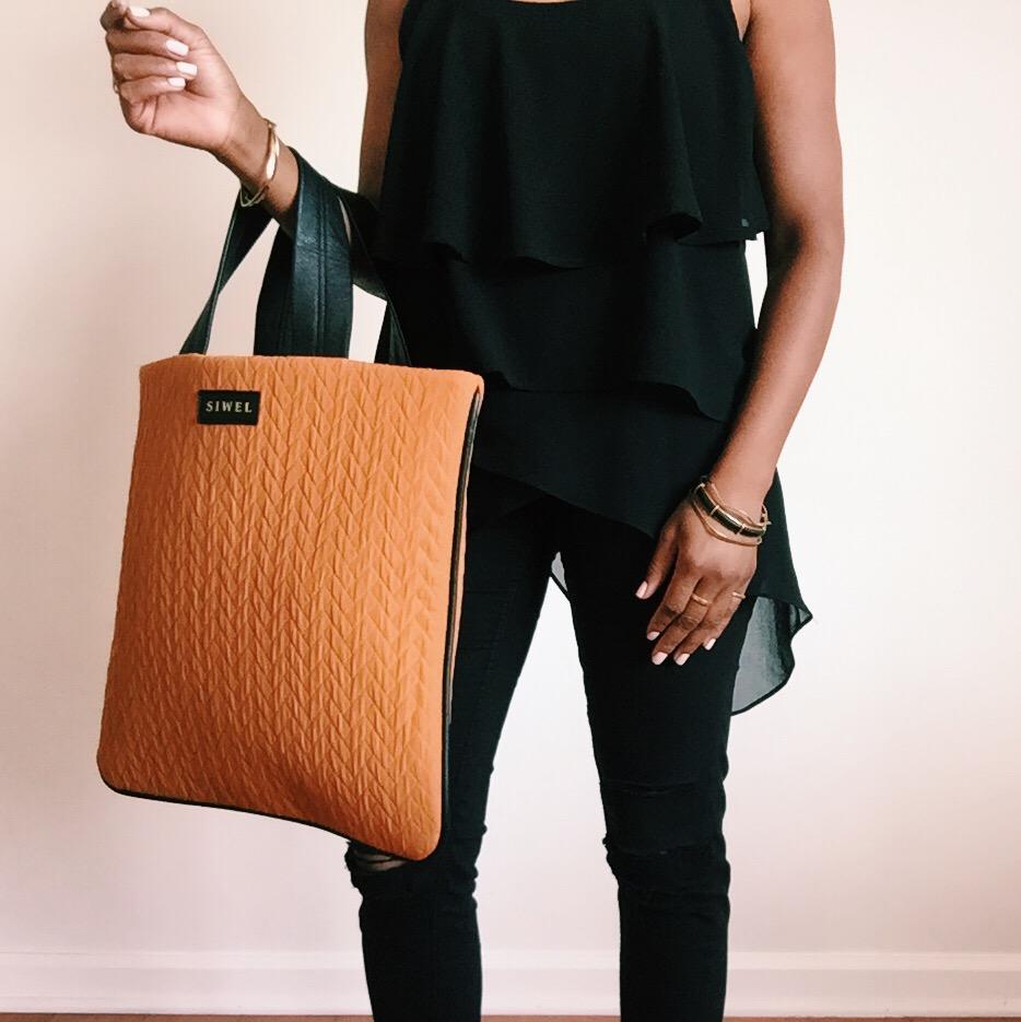 SIWEL Handbags - Ochre Terracotta Dark Ginger Fabric Tote Bag.JPG