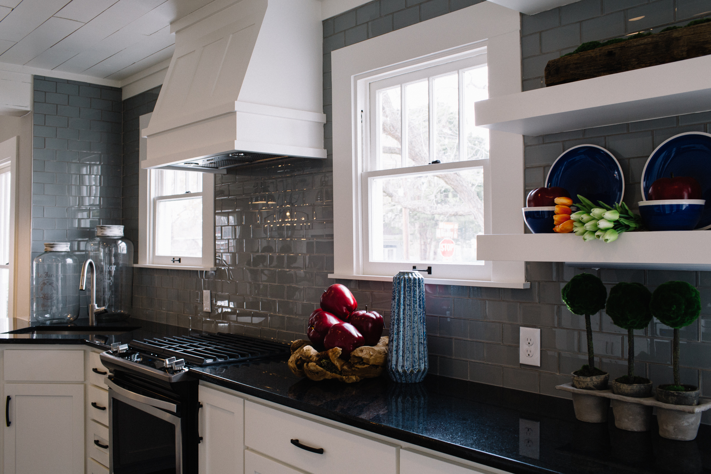 Cottage Kitchen Gray Subway Tile