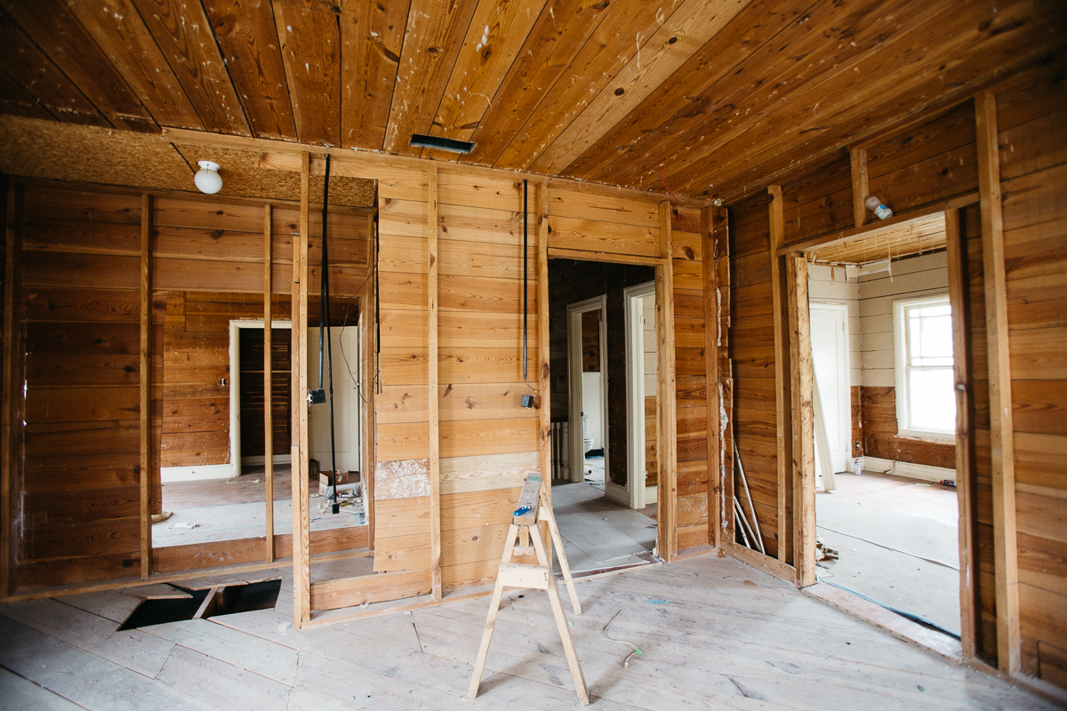 We are combining a few closets and rooms upstairs to design the master suite. The shiplap on the ceiling will stay exposed.