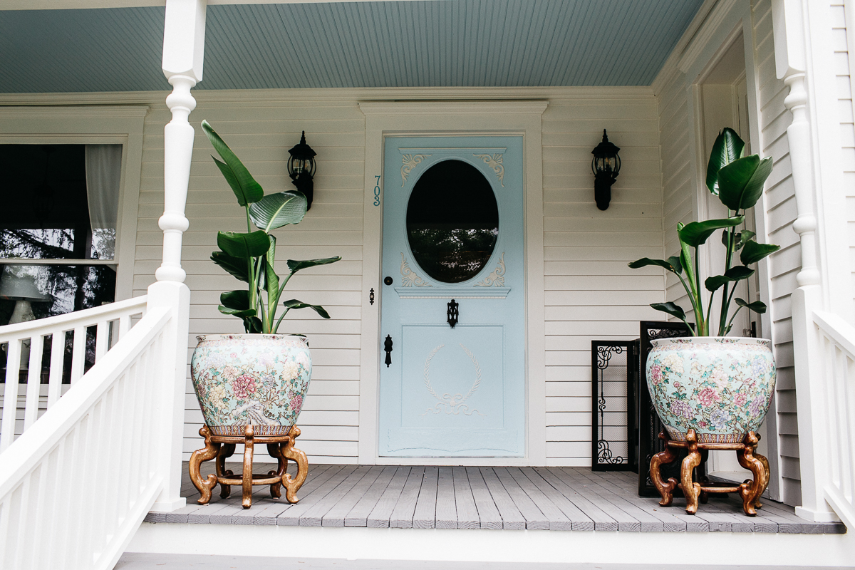 Front Porch with Robins Egg Blue door
